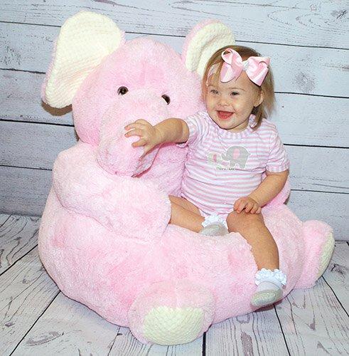Pink Elephant Plush Chair